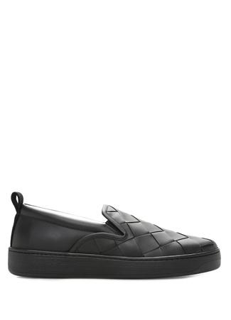 Siyah Örgü Dokulu Erkek Deri Loafer