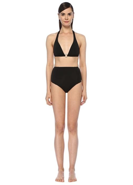Siyah Toka Detaylı Yüksek Bel Üçgen Bikini Takımı