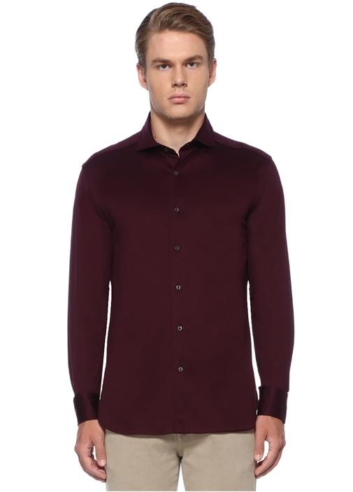 Drop 2 Bordo İngiliz Yaka Gömlek