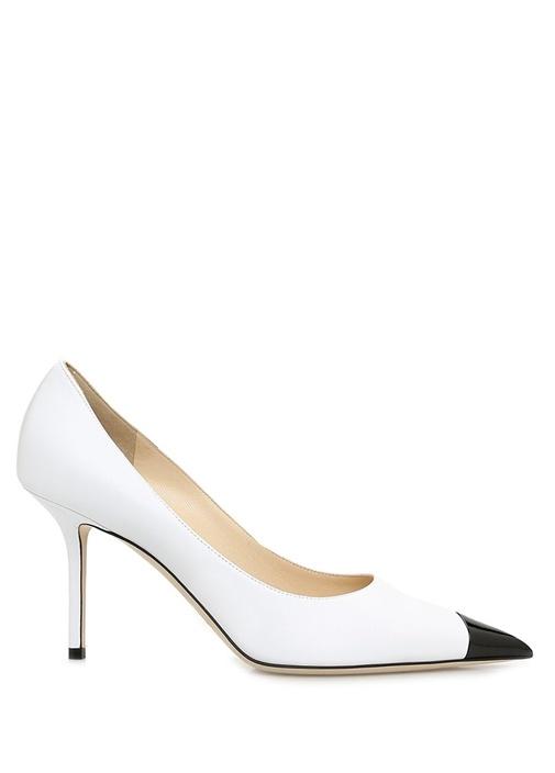 Love 85 Beyaz Siyah Kadın Deri Stiletto