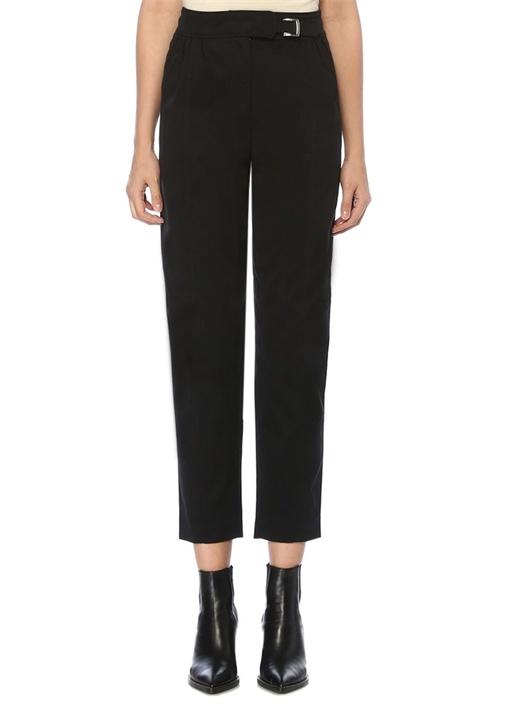 Siyah Yüksek Bel Kemerli Büzgü Detaylı Pantolon