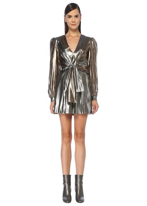 Gold Silver V Yaka Önü Düğümlü Mini İpek Elbise