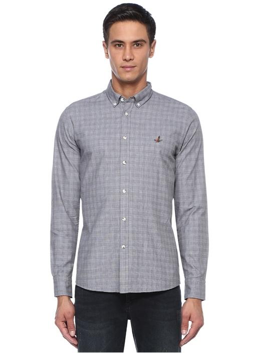 Slim Fit Gri Düğmeli Yaka Desenli Gömlek