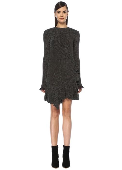 Siyah Parlak İşlemeli Drapeli Uzun Kol Mini Elbise