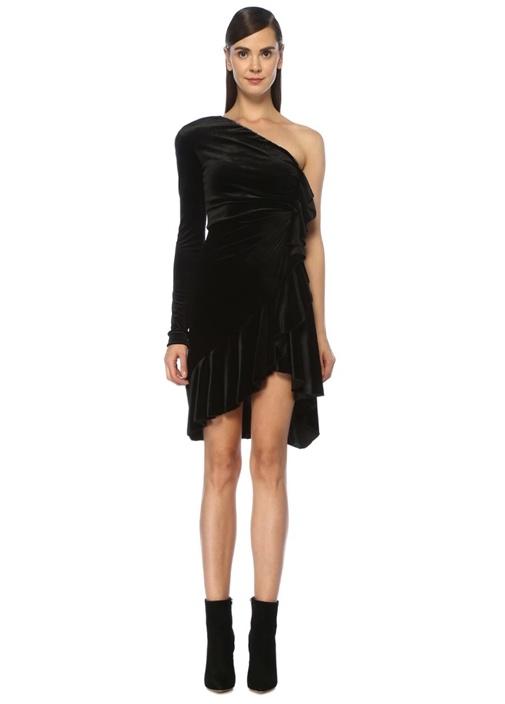 Siyah Tek Omuzlu Fırfır Detaylı Midi Kadife Elbise