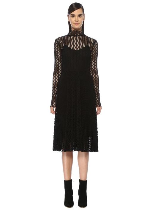 Siyah Dik Yaka Uzun Kol Midi File Örgü Elbise