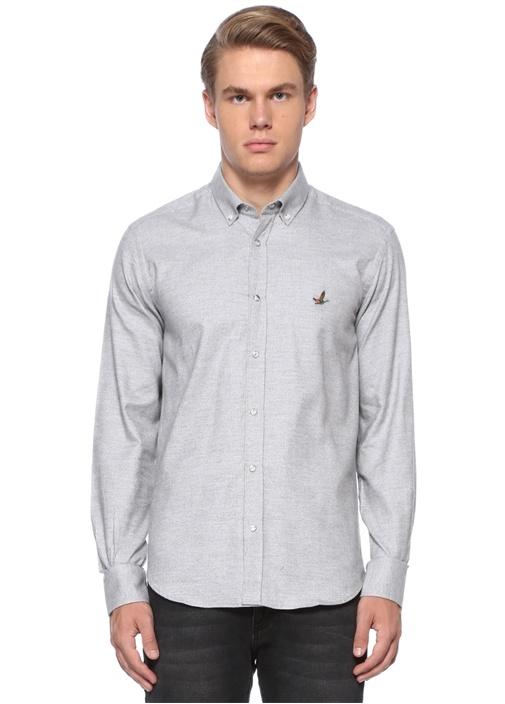 Slim Fit Gri Düğmeli Yaka Gömlek