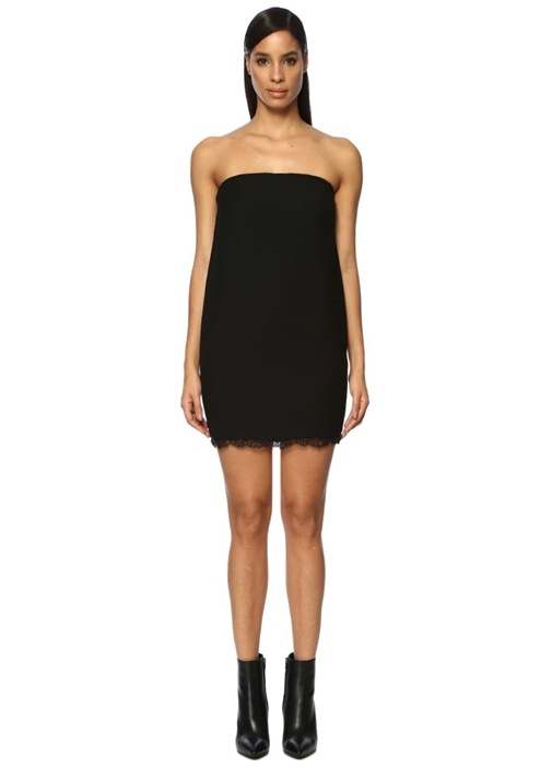 Siyah Straplez Ucu Dantel Garnili Mini Elbise