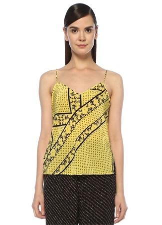 Sarı Desenli İnce Askılı Bluz