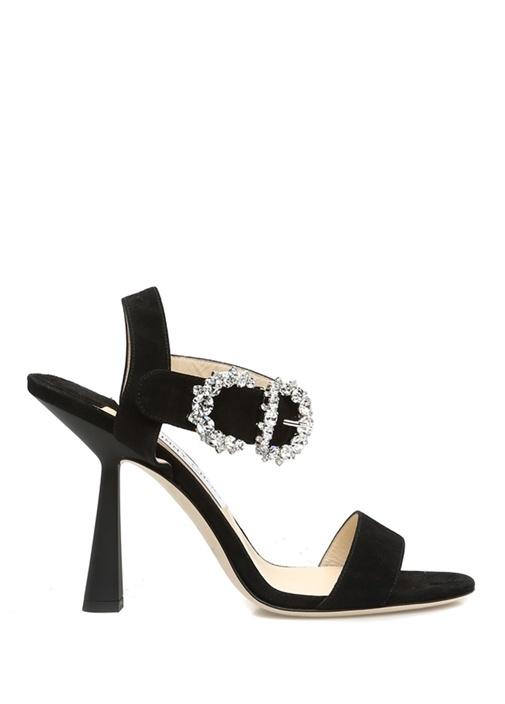 Sereno 100 Siyah Taşlı Kemerli Kadın Süet Sandalet