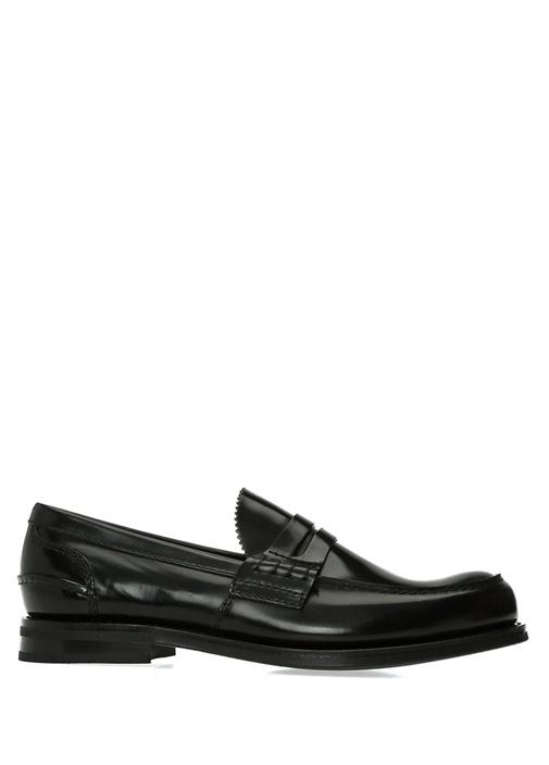 Pembrey Siyah Bantlı Erkek Deri Loafer