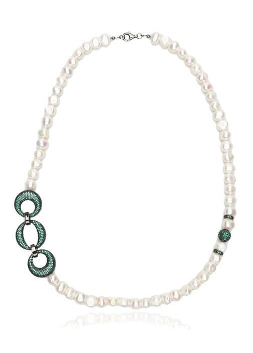 Beyaz Yeşil Taşlı İnci Formlu Kadın Kolye