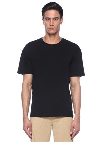 Siyah Limited Baskılı Bisiklet Yaka Basic T-shirt