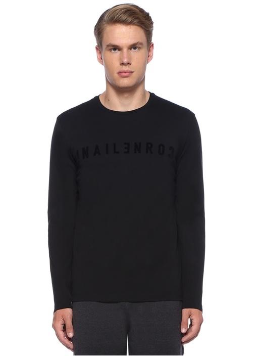 Siyah Kabartmalı Logolu Uzun Kollu Sweatshirt