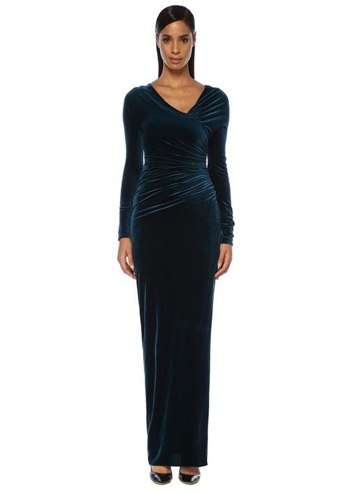 Mavi Asimetrik V Yaka Drapeli Maksi Abiye Elbise