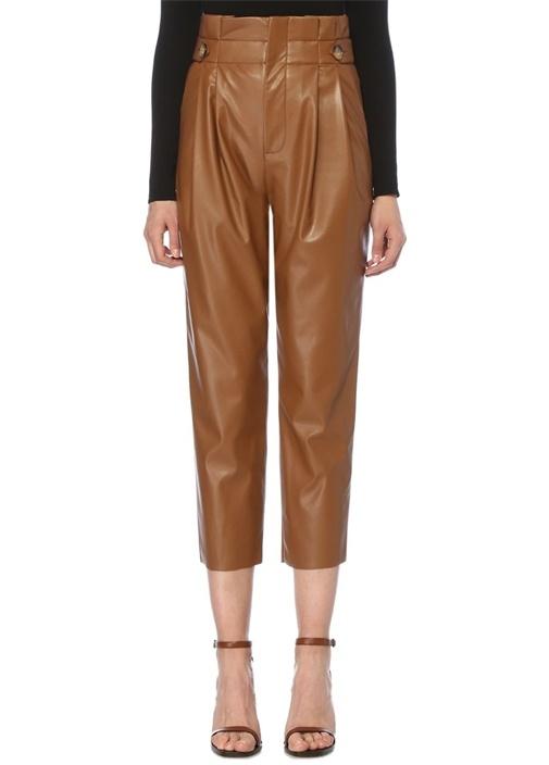 Taba Yüksek Bel Pileli Crop Suni Deri Pantolon