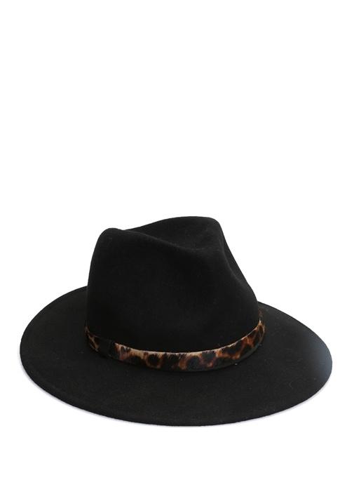 Siyah Leopar Desen Detaylı Kadın Yün Şapka