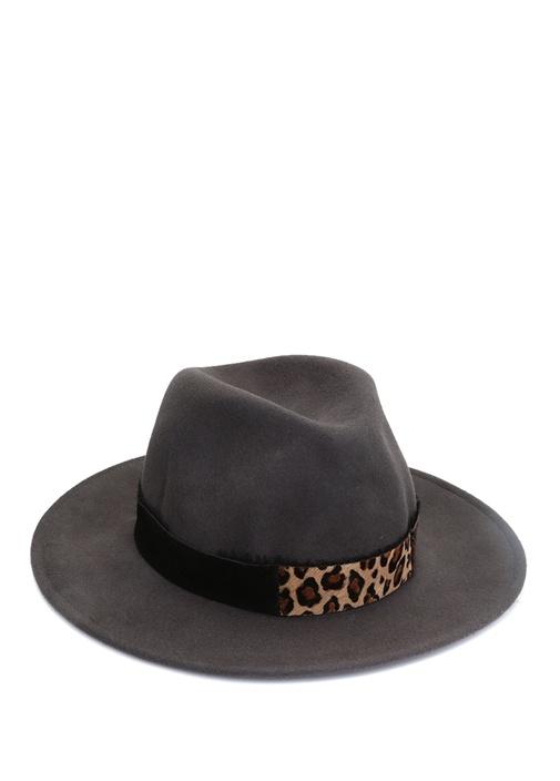 Gri Leopar Desen Detaylı Kadın Yün Şapka