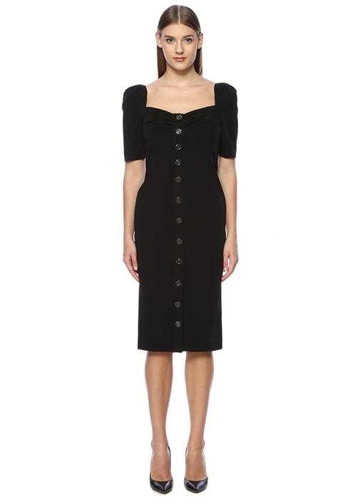 Siyah Kare Yaka Düğmeli Midi Elbise