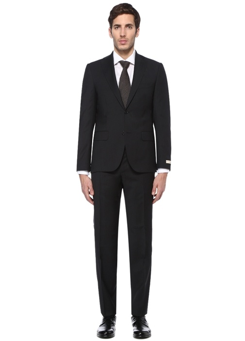 Drop 7 Antrasit Çizgili Yün Takım Elbise