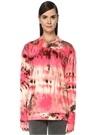 Pembe Batik Desenli Sırtı Logo Baskılı Sweatshirt