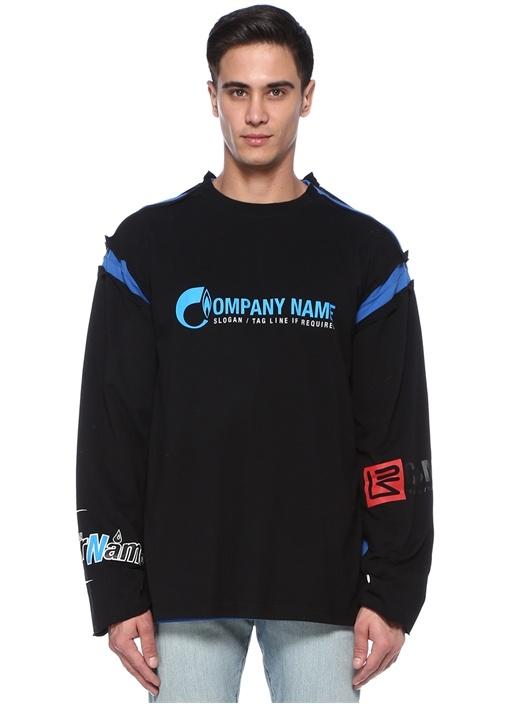 Mavi Siyah Garni Detaylı Sweatshirt