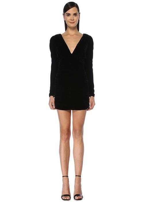 Siyah V Yaka Drapeli Mini Kadife Elbise