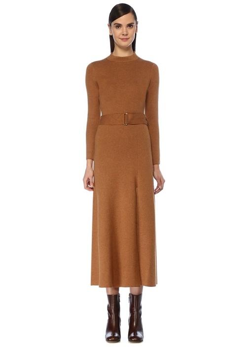 Kahverengi Beli Kemerli Midi Yün Triko Elbise