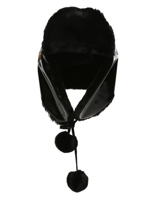 Siyah Parlak Dokulu Kadın Shearling Şapka