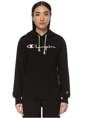 Champion Kadın Siyah Kapüşonlu Logo Nakışlı Sweatshirt M EU