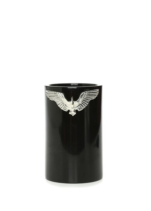 Siyah Anka Kuşu Detaylı Kısa Mermer Vazo