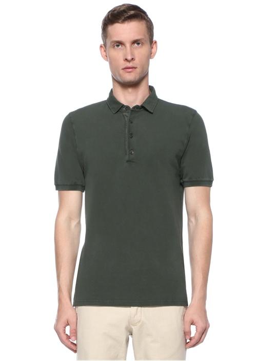 Haki Polo Yaka Dokulu T-shirt
