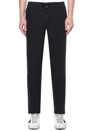 Lacivert Normal Bel Dar Paça Keten Pantolon