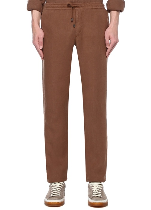 Kahverengi Normal Bel Dar Paça Keten Pantolon