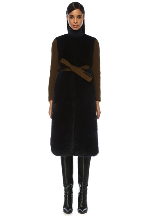 Haki Siyah Beli Kuşaklı Yün Palto