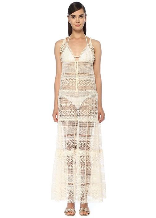 Queen & Pawn Beyaz Dantelli Aksesuar Detaylı Plaj Elbisesi – 1499.0 TL