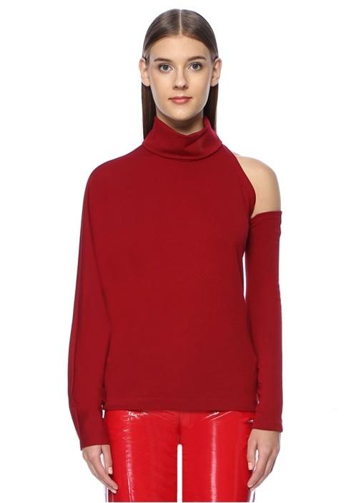 Kırmızı Dik Yaka Kol Detaylı Bluz