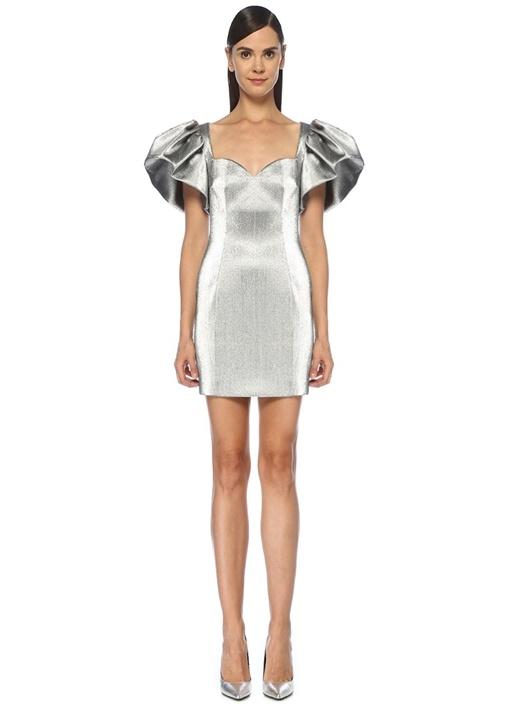 Silver Kalp Yaka Kolu Volanlı Mini Elbise
