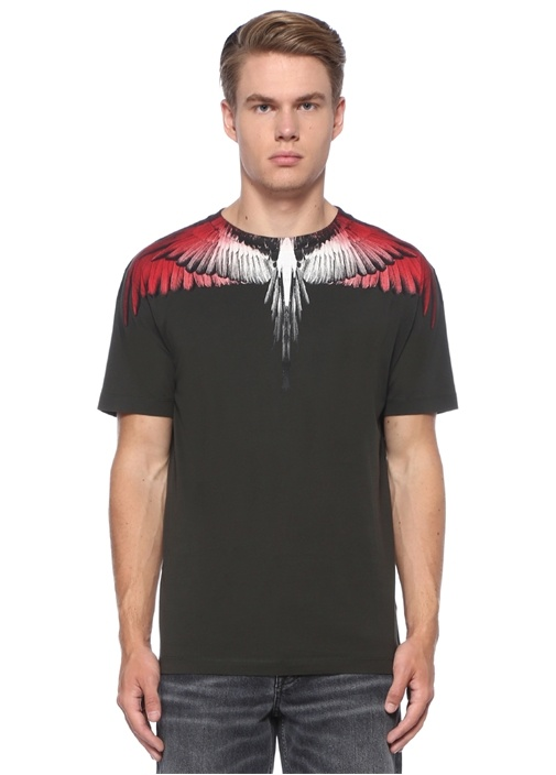 Red Ghost Wings Gri Yakası Baskılı Basic T-shirt