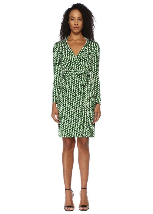 Jeanne Two Yeşil Desenli Mini İpek Anvelop Elbise