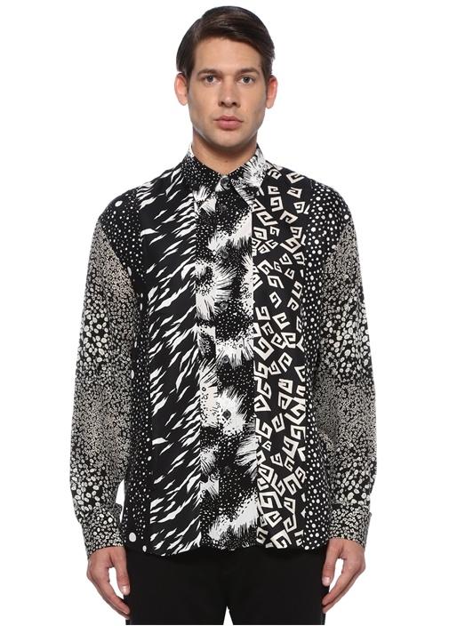 Siyah Beyaz Sivri Yaka Karışık Desenli İpek Gömlek
