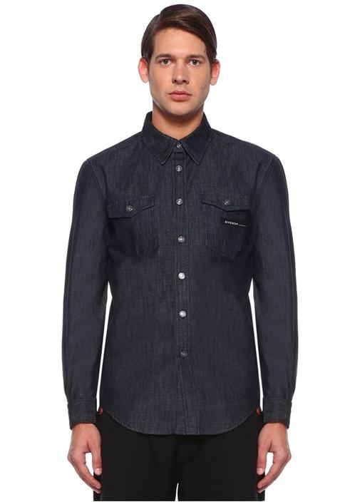 Siyah Sivri Yaka Şerit Logolu Cepli Denim Gömlek