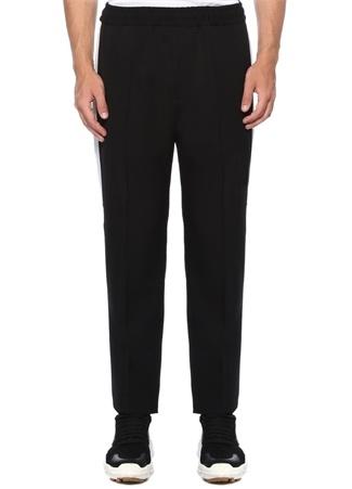 Siyah Kenarı Şeritli Dar Paça Yün Pantolon