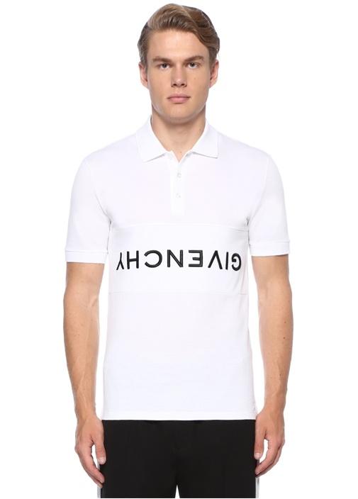 Beyaz Polo Yaka Kontrast Logolu T-shirt