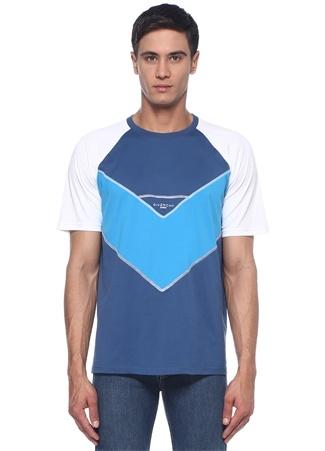 Mavi Bisiklet Yaka Dekoratif Dikişli Logolu Tshirt