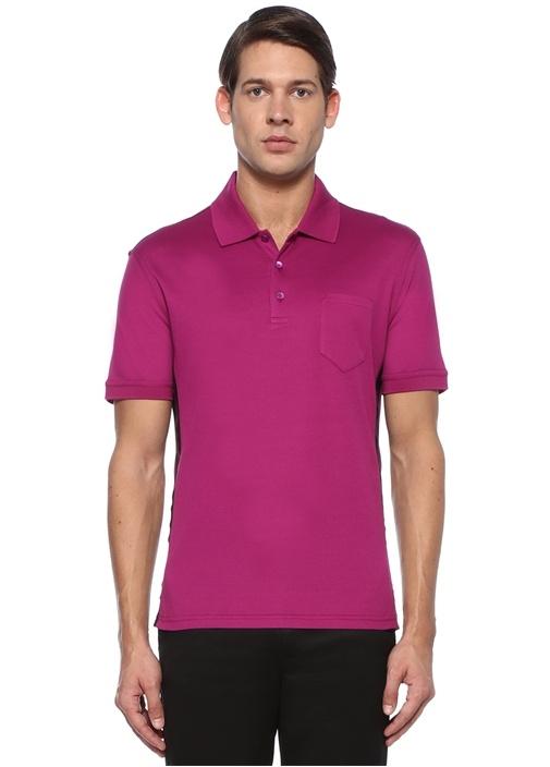 Fuşya Polo Yaka Cepli T-shirt