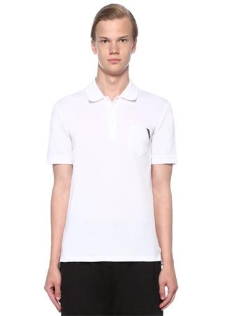 Beyaz Polo Yaka Cepli Logolu T-shirt