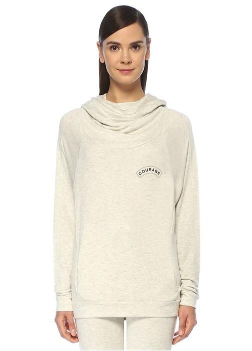 Courage Ekru Kapüşonlu Nakışlı Sweatshirt