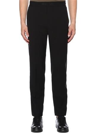 Siyah Haki Şeritli Logo Bantlı Yün Pantolon