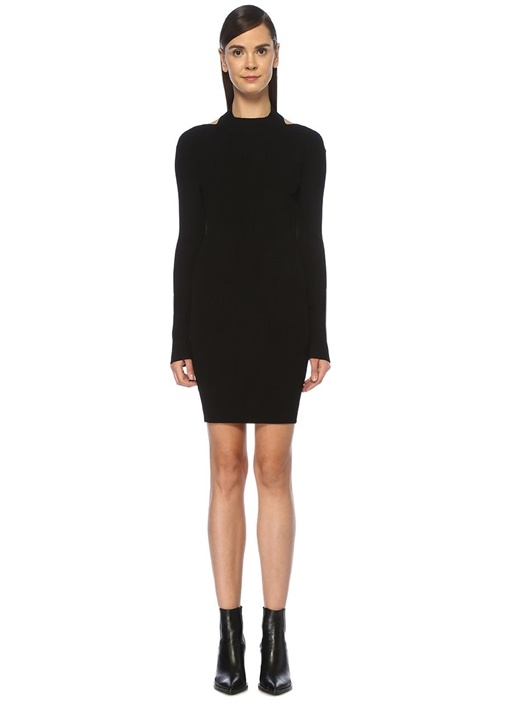 Siyah Sırt Dekolteli Mini Triko Elbise